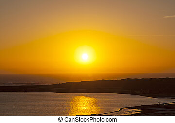 sunset at the salinas de Janubio in Lanzarote