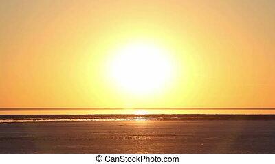 Sunset at the salt lake Elton