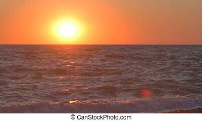 Sunset at the sea beach, beautiful