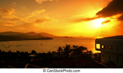 Sunset at the sea on mountain Koh Samui. 4k timelapse video