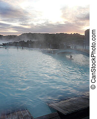 Sunset at the steamy Blue Lagoon, Iceland - Sunset at the...