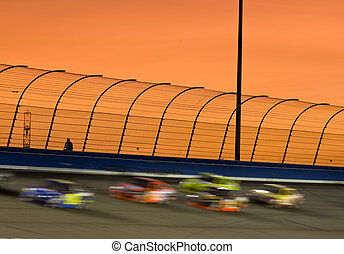 Sunset at the Track - The sun sets on turn 4 at a local race...