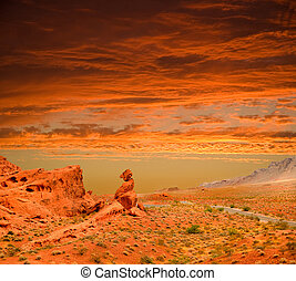 sunset at the valley of fire
