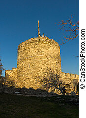 Sunset at Tower of the Byzantine fortress in Kavala, East Macedonia and Thrace