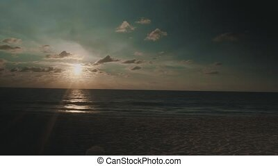Sunset at tropical empty sandy beach - Beautiful tropical...