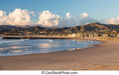 Sunset evening in Ventura with beach framing town