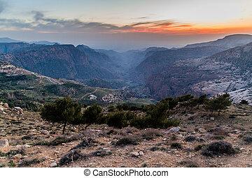 Sunset at Wadi Dana canyon in Dana Biosphere Reserve, Jordan