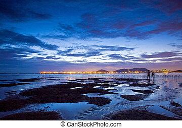 Sunset at wetland and coast of Hong Kong
