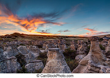 Sunset at Writing on Stone Provincial Park in Alberta, Canada
