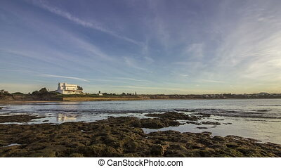 Sunset Atlantic Tamarist beach - Pan Time lapse Sunset...