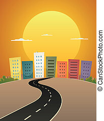 Sunset Avenue - Illustration of a cartoon city street road ...