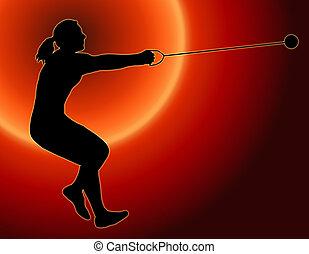 Sunset Back Ladies Hammer Thrower