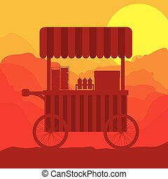 sunset background hot dogs food truck vector illustration