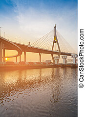 Sunset background over Bangkok Suspension bridge