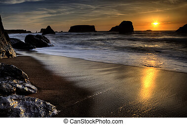 Sunset Bandon Oregon beautiful rock formations USA