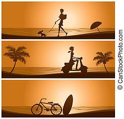 Sunset banner set