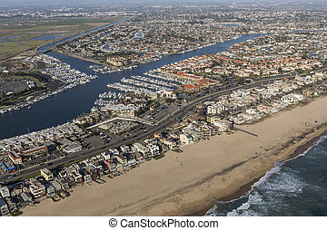 Sunset Beach Aerial in Southern California