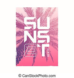 Sunset beach. Graphic summer t-shirt design with the hand drawn palm tree.