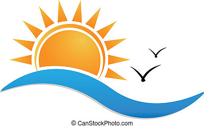 Sunset beach logo - Sunset beach vector icon background