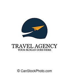 sunset Beach logo inspiration, travel with paper plane logo designs