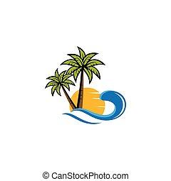 Sunset beach logo vector icon