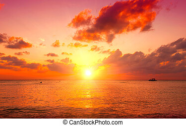 Sunset beach. Paradise scene of Caribbean island