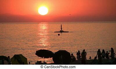 Sunset beach scene at Alanya - Beautiful Sunset on...