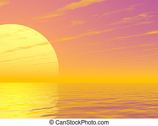 Sunset - Beautiful sunset over a sea