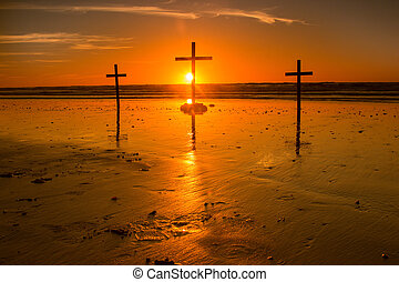 Sunset Behind Cross