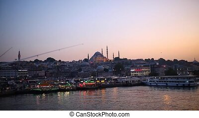 sunset behind the mosque in Istanbul image