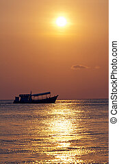 Sunset, boat and ocean, Thailand