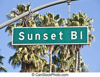 Sunset Boulevard Sign - Sunset Boulevard street sign in...