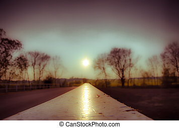 sunset bridge railing