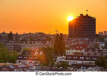 Sunset building Amsterdam