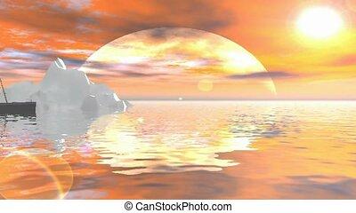 Sunset by an iceberg
