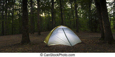 Sunset campsite and tent