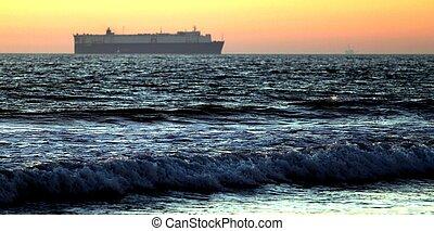 Sunset Cargo Ship