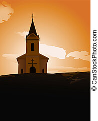 sunset chapel - vector illustration of chapel on the hill in...