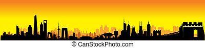 Sunset China Skyline - Sunset Great Mainland China Building...