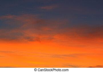 sunset., ciel bleu, et, nuages, nature