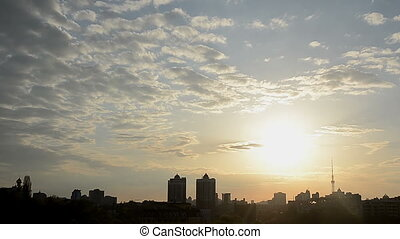 Sunset city house sun