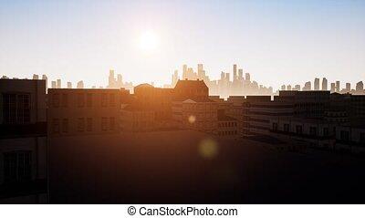 Sunset city Huge futuristic skyscraper building