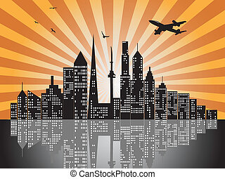 sunset city skylines - the background of sunset city...