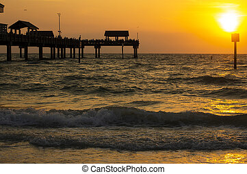 Sunset Clearwater Pier 60 Tampa Florida Beach