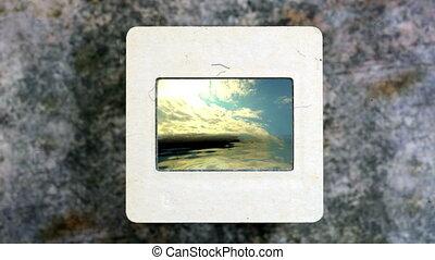 Sunset Clouds Over Ocean on vintage slide film
