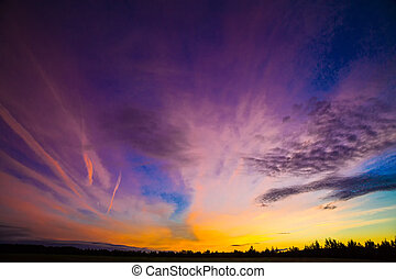 sunset, color the sky