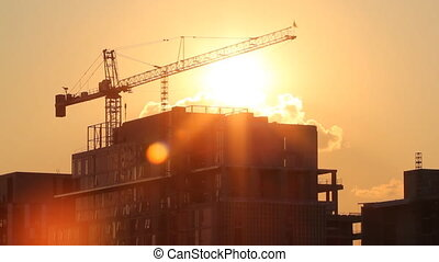 Sunset crane. Timelapse.