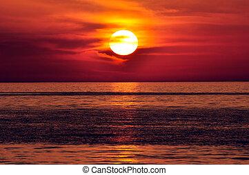 Sunset. Crete, Greece. - Sunset in the Mediterranean. Island...