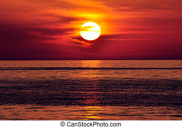 Sunset. Crete, Greece. - Sunset in the Mediterranean. Island...