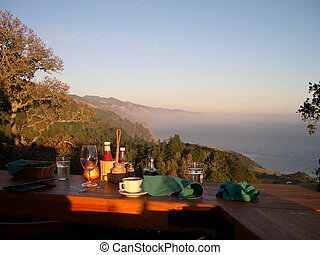 Completed dinner at sunset on the californian coast near Big Sur